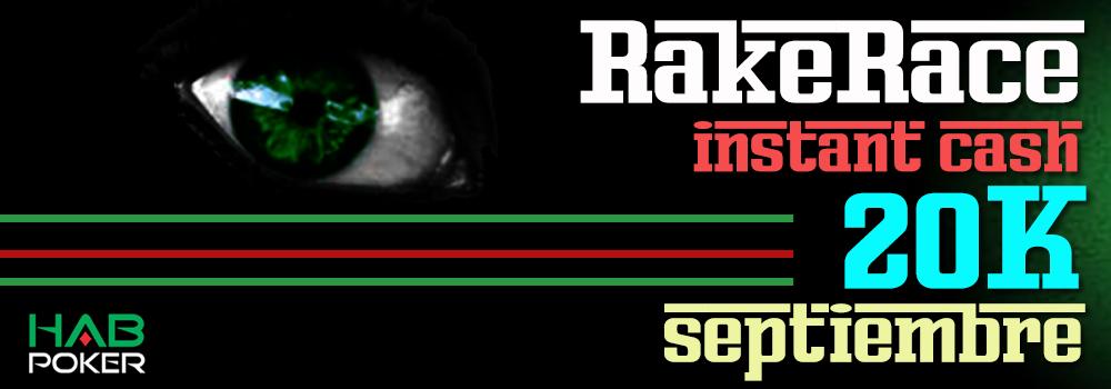 Clasificación actualizada de la Primera Rake Race de la Instant Cash 20K Septiembre
